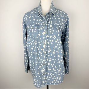 Denim button down with polka dots